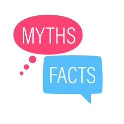 Facts Myths speech bubble concept  design. Clipart image.