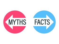Facts vs Myths concept. Clipat image.