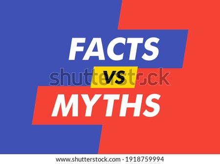 Facts vs myths on red and green dialog window. Vector illustration on white background. Concept of thorough fact-checking or easy compare evidence. Foto stock ©