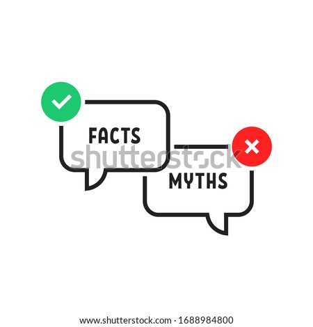 facts vs myths simple popup bubble. flat outline trend modern logotype graphic design isolated on white background. concept of red and green x and checkmark or true or false and yes or no symbol Foto stock ©