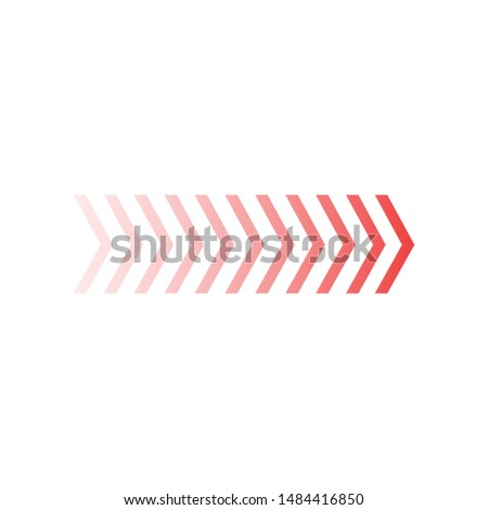 Fade chevron arrows right, vector illustration isolated on white background.