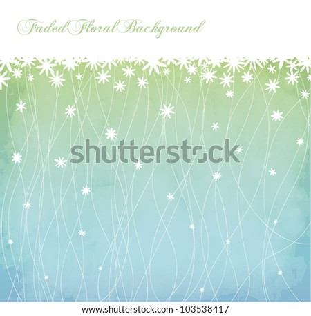 Faded Floral Background and Floral Border in powder blue, fresh green and white