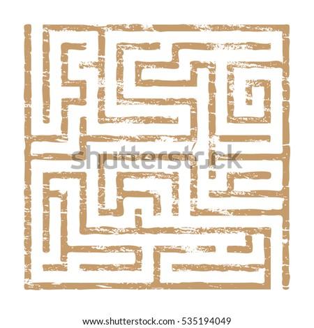 faded maze puzzle icon grungy