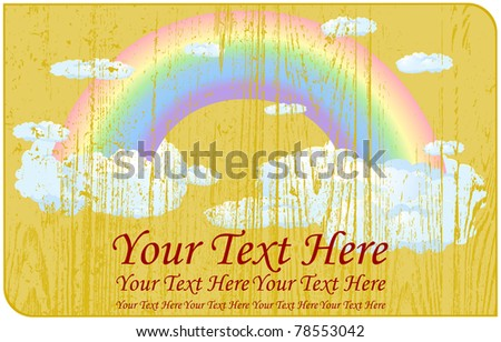 Faded rainbow with clouds located on a wooden label