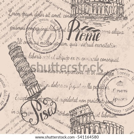 Faded text, stamps, Coliseum, lettering Rome, Leaning tower of Pisa, lettering Pisa, seamless pattern on beige background