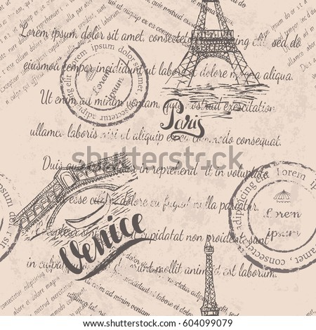 faded text  stamps  eiffel...
