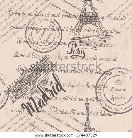 faded text  stamps  eiffel