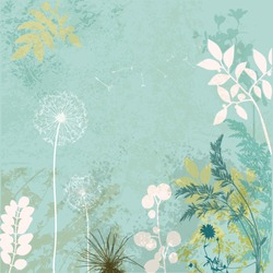 Faded Vintage Floral Background, with grass, leaves and weeds