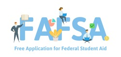 FAFSA, Free Application for Federal Student Aid. Concept with keywords, letters and icons. Colored flat vector illustration. Isolated on white background.