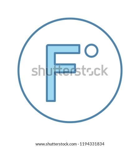 Fahrenheit degrees temperature color icon. Fahrenheit scale. Isolated vector illustration