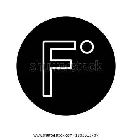 Fahrenheit degrees temperature glyph icon. Fahrenheit scale. Silhouette symbol. Negative space. Vector isolated illustration