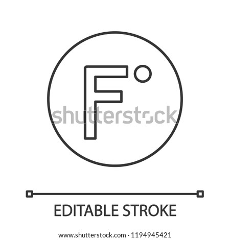 Fahrenheit degrees temperature linear icon. Thin line illustration. Fahrenheit scale. Contour symbol. Vector isolated outline drawing. Editable stroke