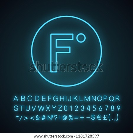 Fahrenheit degrees temperature neon light icon. Fahrenheit scale. Glowing sign with alphabet, numbers and symbols. Vector isolated illustration
