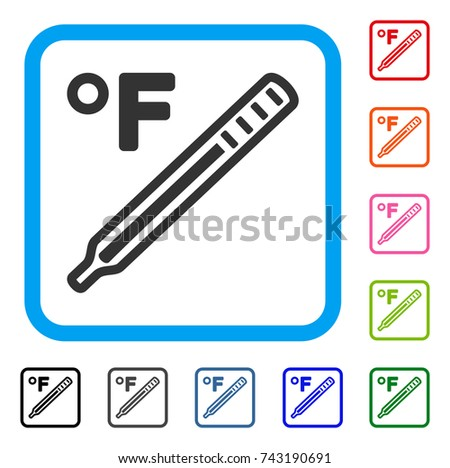Fahrenheit Medical Thermometer icon. Flat gray pictogram symbol in a light blue rounded rectangle. Black, gray, green, blue, red, orange color variants of Fahrenheit Medical Thermometer vector.