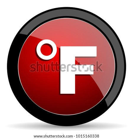 Fahrenheit vector icon. Modern design red and black glossy web and mobile applications button in eps 10
