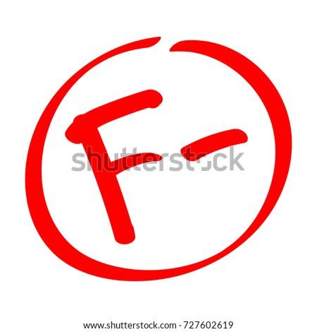fail grade result f  hand