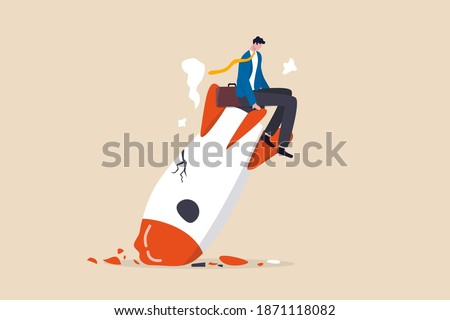Fail start up business, new business risk or unexpected entrepreneur bankruptcy concept, depressed businessman company owner sitting on crash launching space rocket metaphor of new business failure. ストックフォト ©