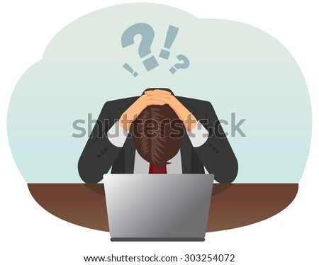 Failed and stressed businessman is tired to work on the computer. He put hands on the head.