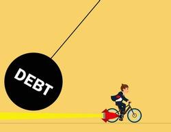 Failure Of Debt Management. businessman riding a bike to escape debt