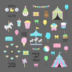 Fair, carnival, circus vector illustrations collection. Amusement park graphic hand drawn icons of carousel, wheel, circus tent, funfair food. Isolated on grey background.