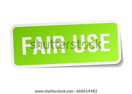 fair use square sticker on white