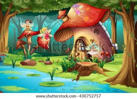 fairies flying around mushroom