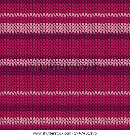 Fairisle horizontal stripes knitting texture geometric vector seamless. Plaid knitwear fabric print. Norwegian style seamless knitted pattern. Handicraft backdrop. Stock foto ©