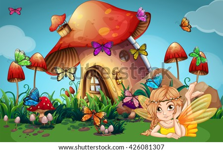 fairy and butterflies at