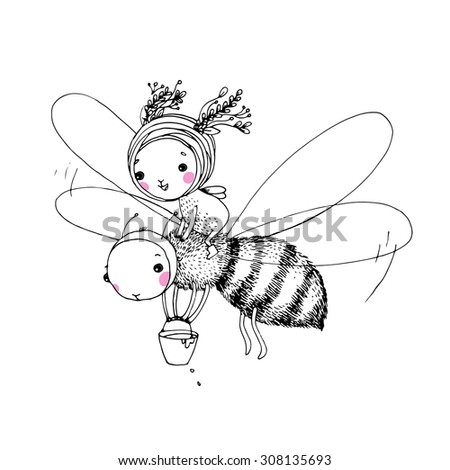 fairy and the bee on a white