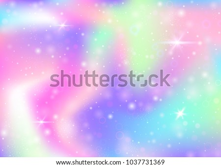 Stock Photo Fairy background with rainbow mesh.  Multicolor universe banner in princess colors. Fantasy gradient backdrop with hologram. Holographic fairy background with magic sparkles, stars and blurs.