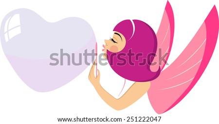 fairy blows soap bubble in