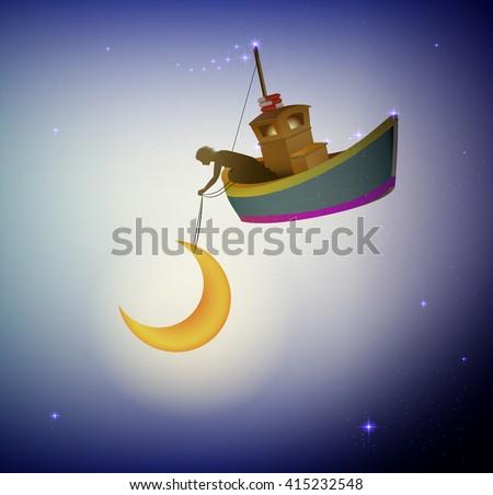 fairy boy holding the moon on