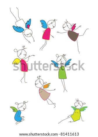 fairy character set vector
