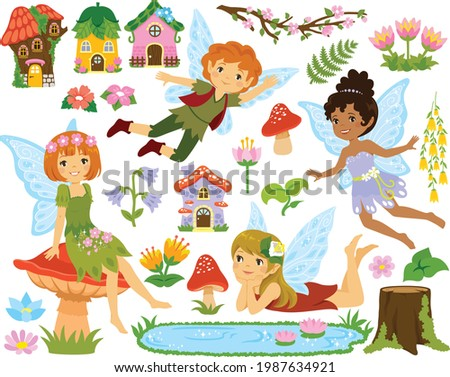 Fairy clipart set. Collection of cartoon fairies, fairy houses and forest elements.