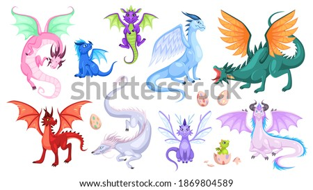 Fairy dragons. Fantasy colorful creatures, medieval magic fairy tails animals, fire-breathing mythical reptiles, flying dinosaurs. Childish bright collection for design cartoon vector isolated set Stock photo ©