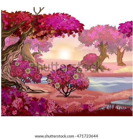 fairy forest with pink trees