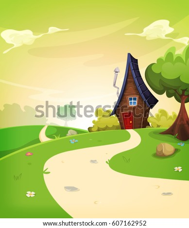 Fairy House Inside Spring Landscape/ Illustration of a cartoon spring or summer season landscape with country road leading to a fairy little house #607162952