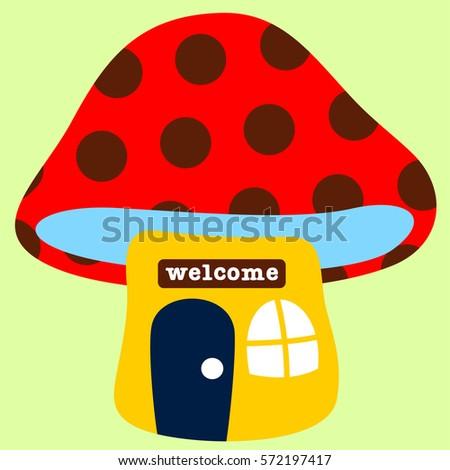 fairy house mushroom vector