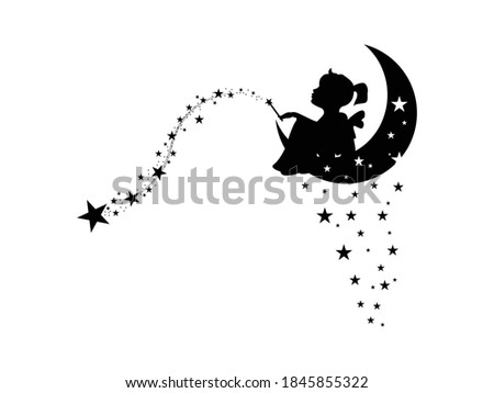 fairy Icon Vector illustration. Cute Fairy With Winds And stars symbol. cartoon Magical fairies night, emblem isolated on white background, Flat style for graphic and web design, tattoo, silhouette.