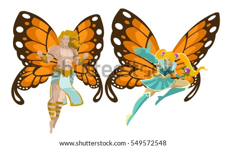 fairy male and female flying