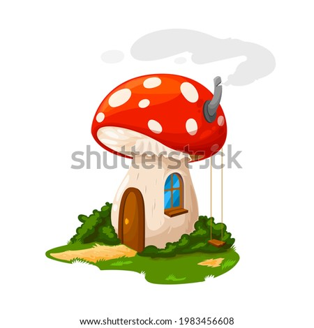 Fairy mushroom house or gnome dwelling and dwarf home, vector cartoon. Dwarf gnome or elf fairy tale mushroom house from amanita, hut with wooden door, chimney and swings at garden yard Photo stock ©