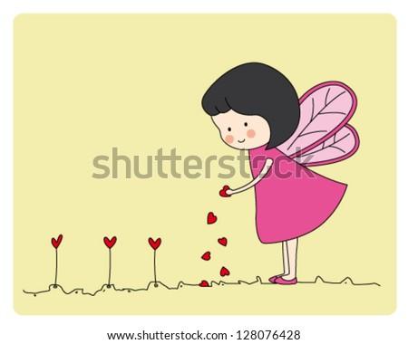 fairy planting hearts