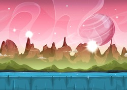 Fairy Sci-fi Alien Landscape For Ui Game/ Illustration of a cartoon seamless sci-fi alien planet landscape, with layers for parallax including weird mountains range, stars and planets for ui game
