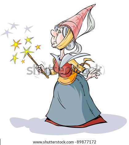 Fairy  Sorceress. Cartoon character.