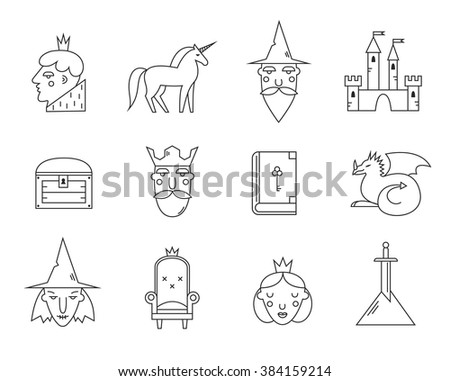 fairy tail icons set vector
