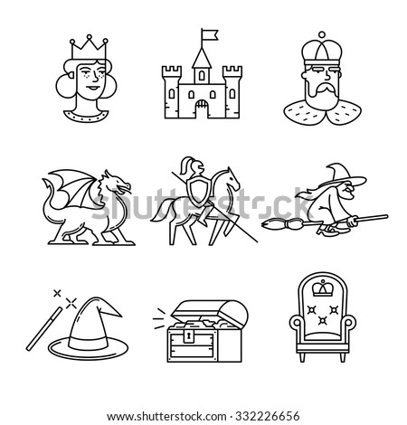 Fairy tail icons thin line art set. Black vector symbols isolated on white.