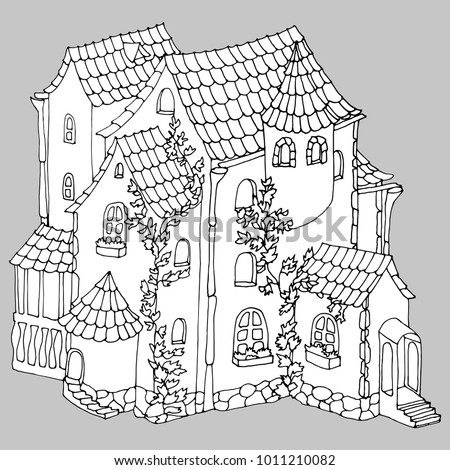 Fairy tale ancient stone house or mansion covered by plant, graphic vector illustration ro coloring pages or other. Cartoon style.