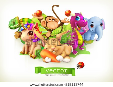 Stock Photo Fairy tale animals. Happy bunny, rabbit, cute unicorn, small dragon, baby elephant, monkey, chameleon. 3d vector