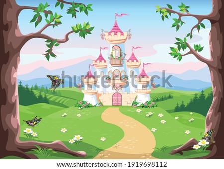 Fairy tale background with princess castle in the forest. Castle with pink flags, precious hearts, roofs, towers and gates in a beautiful landscape. Vector illustration for a fairy tale.