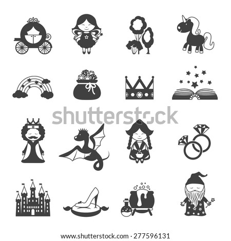 fairy tale black icons set with